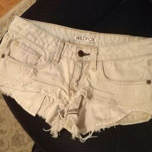 Wildfox Jeans Shorts Friday night cut offs white